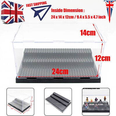 UK Minifigures Acrylic Display Box Case Plastic Black Block Self-Assembly 25cm L
