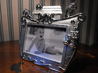 Baby Girl  Boy Christening Gift Silver Noahs Ark Frame  Quality Baby Photo Frame