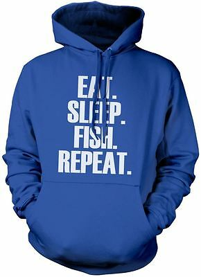Eat Sleep Fish Repeat Unisex Hoody Fisherman Gift Various Colours Hoodie