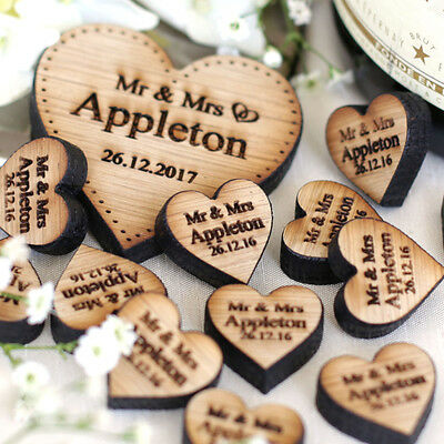 Personalised Love Hearts Wooden Wedding Table Decorations Rustic Favours