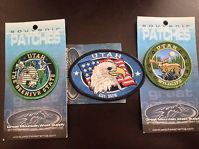 State of Utah advertising souvenir travel patches Three Different Patches