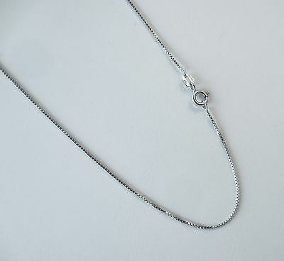 """Box Chain 1mm Italian .925 Rhodium Plated over Sterling Silver 16,18,20,22,24"""""""