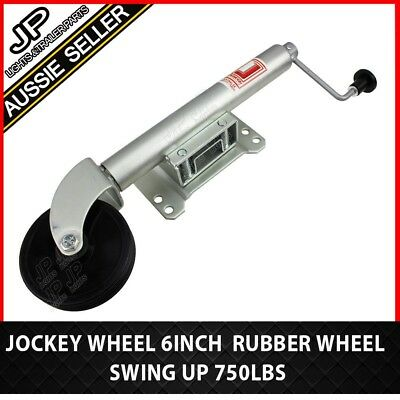 "HUGE SPECIAL! Heavy Duty Swing up Trailer Caravan Jockey Wheel  6"" Rubber Wheel"