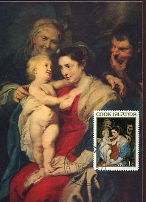 cook island 11089 painting of p.p. rubens the holy family