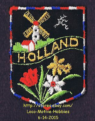 LMH PATCH Woven Badge  HOLLAND Edelweiss TULIP Flowers  WINDMILL  NETHERLANDS