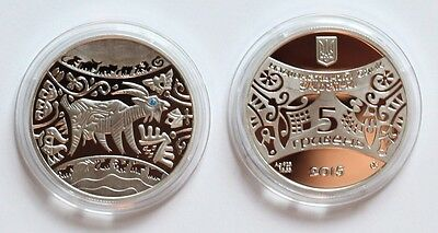 2014 Ukraine 5 UAH PROOF 1/2 OZ Silver Year of the Goat-box