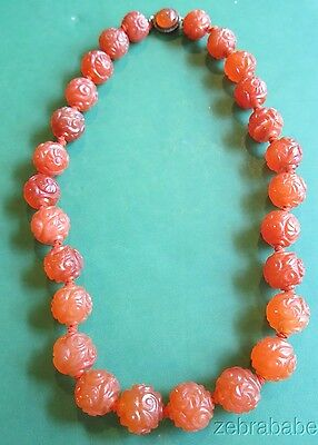 Antique Chinese Carved Carnelian Necklace
