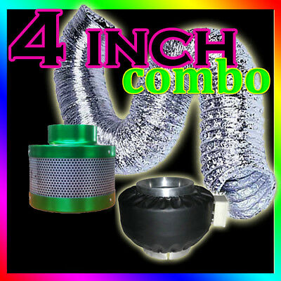 "4"" Hydroponic Grow Light Fan Blower Carbon Air Filter Ducting Duct Grow Tent Kit"