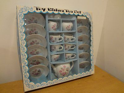 Vintage Toy China 21pc Rose & Butterfly Pattern Tea Set - Made In Japan w/ Box