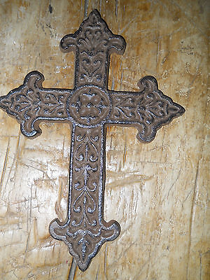 Cast Iron VICTORIAN STYLE Wall Cross Rustic Ranch Decorative Finish Home Decor
