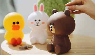 "6"" Line Friends Coin Bank (3 Types) Brown Cony Sally PVC Desk Kid Save Figure"