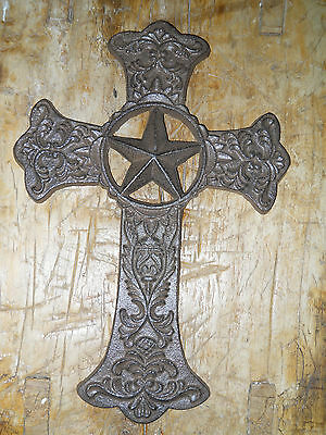 Cast Iron Victorian Style RELIGIOUS CROSS  Rustic Ranch Western Decor #8