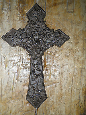 Cast Iron Victorian Style RELIGIOUS CROSS  Rustic Ranch Western Decor #20