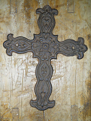 Cast Iron Victorian Style RELIGIOUS CROSS  Rustic Ranch Western Decor #35