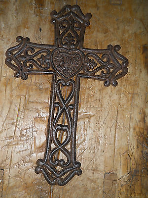 Cast Iron Victorian Style RELIGIOUS CROSS  Rustic Ranch Western Decor #37 LOVE