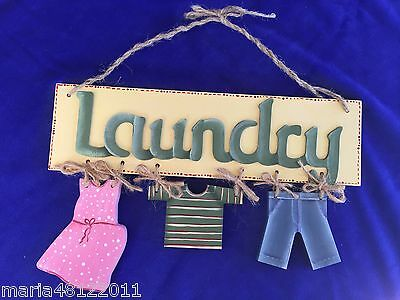 LAUNDRY Sign,with CLOTHES,22cmH x 25cmW x 1cmD,Wall,Door,Decorative,Crafts