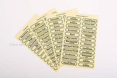 96 x Herb Spice Labels Self Adhesive For Storage Glass Jars Canister Clear