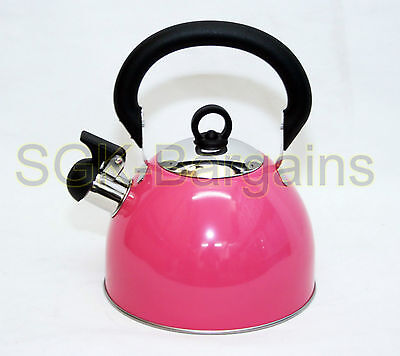 2.5L Stainless Steel Lightweight Whistling Kettle Camping Fishing Cordless Pink