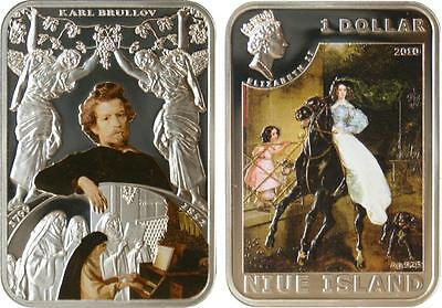 Niue 2010 $1 World of Painting - Karl Brullov 28.28g Silver Proof Coin
