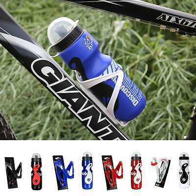 650ML Mountain MTB Bike Bicycle Cycling Outdoor Water Bottle + Holder Cage Rack