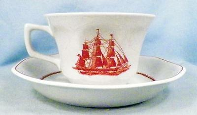 Wedgwood American Clipper Cup & Saucer Flying Cloud Vintage Porcelain Red