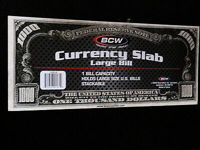 1-Deluxe Currency Slab  Crystal Clear Acid Free    Bcw  - Large Bill