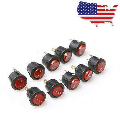 10pcs 125V 250V Round 3 Pin Red LED Rocker Waveform Switch Car Toggle Switch -US