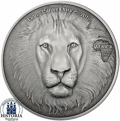 Africa Serie 2013: Ghana 20 Cedis Lionhead 3 Silver Ounces Antique Finish