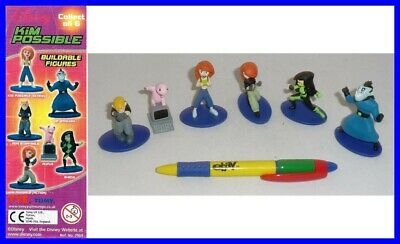 RARE SET 6 Figures KIM POSSIBLE Rufus Ron Shego ORIGINAL TOMY Gashapon ALL MINT