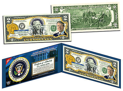 JIMMY CARTER * President 1977-1981 * Colorized $2 Bill US Genuine Legal Tender