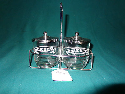 Smucker's Jelly Holders (2) in a Metal Caddy-EUC