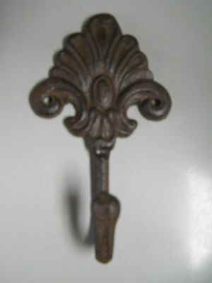 3 Cast Iron Antique Style Rustic Fleur De Lis Coat Hooks Hat Hook Rack Towel #3