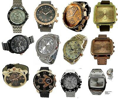Job Lot of Brand New Big Face Leather & Metal Strap Men's Watches = x12