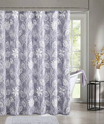 Black Grey White Embossed Fabric Shower Curtain: Floral Damask ...