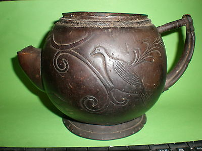Antique 17Th Century  Teapot, Rare Hand Carved Coconut Teapot, Mariner Carved ?
