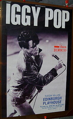 Iggy Pop 1987 Edinburgh concert double quad poster MINT