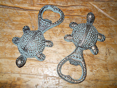 2 Cast Iron SEA TURTLE Bottle Opener Nautical Beer / Soda Opener GREEN