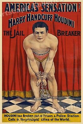 "1900s ""Houdini - The Jail Breaker"" Vintage Style Magic Poster - 20x30"