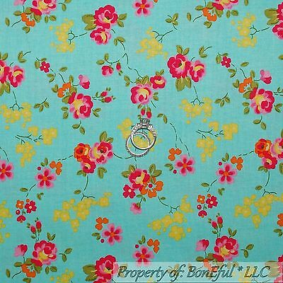 BonEful Fabric FQ Cotton Quilt Aqua Blue Yellow Pink Flower Shabby Chic Girl OOP
