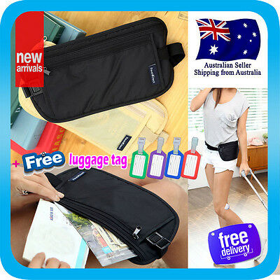 Travel Secure Bag Passport Waist Pouch Card Ticket Money Belt Secret Wallet+Tag