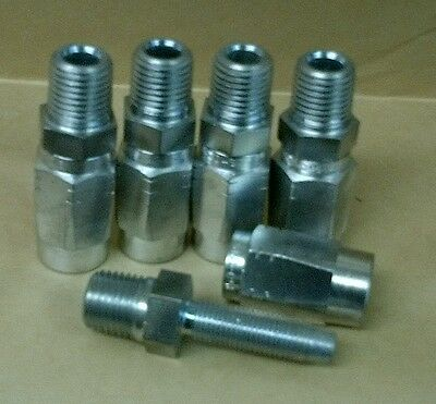 "Lot of 5 Reusable Hydraulic Hose Fittings Male 1/4"" NPT x -4 (1/4"") Hose"