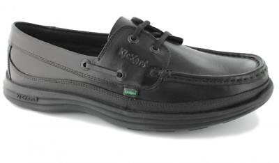 Kickers REASAN BOAT Mens Casual Comfy Genuine Leather Lace-Up Deck Shoes Black