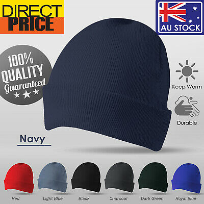 Unisex Beanie Winter Warm Navy Black Ribbon Knitting Men Women Black Navy