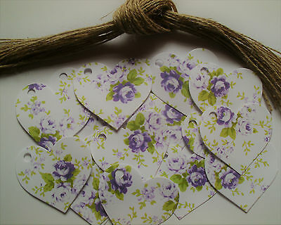 20 Blank Lilac Floral Heart Labels Vintage Style, Perfect For Homemade Jam Jars