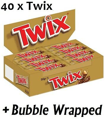 MARS TWIX Bar 40x55g Twin Pack BULK Box Milk Chocolate Caramel & Crunchy Biscuit