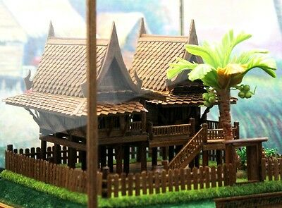 AMAZING! Handicraft Traditional Thai Twin House Teak Wood Carved Antique Model
