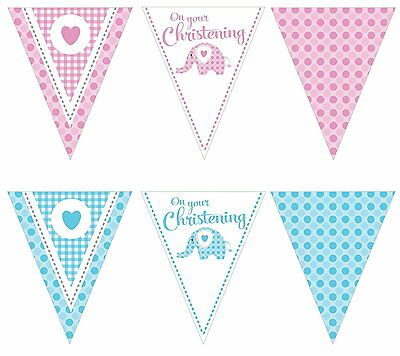 Sweet Baby Elephant Christening Boys Girls Party Pennant Flag Banner Decoration
