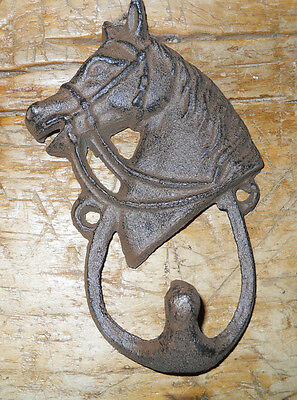 3 Cast Iron HORSE HEAD Coat Hooks Hat Hook Towel Rack Western Cowboy Decor