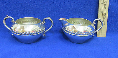 Vintage Silverplated Sugar Creamer Set Silver on Copper Coffee Tea Set