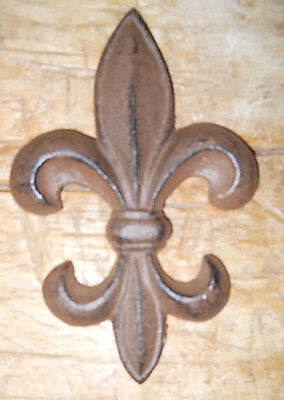 5 Cast Iron Antique Style Rustic Fleur De Lis Wall Decor BROWN Finish 7 INCH
